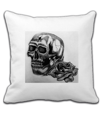 Throw Pillow SkullandRose