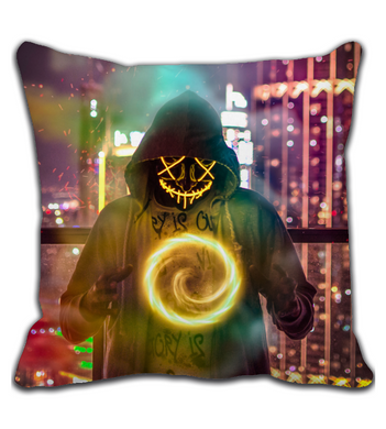 Throw Pillow Skull man wearing hoodie forming chakra