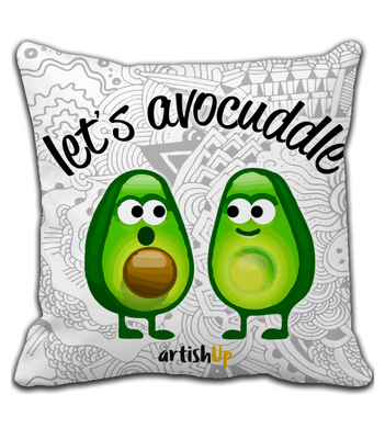 Throw Pillow Let's avocuddle white