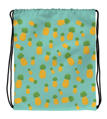Drawstring Gym Bag Blue and Yellow Pineapple Pattern Print