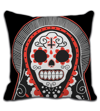 Throw Pillow Mexican Skull Doll