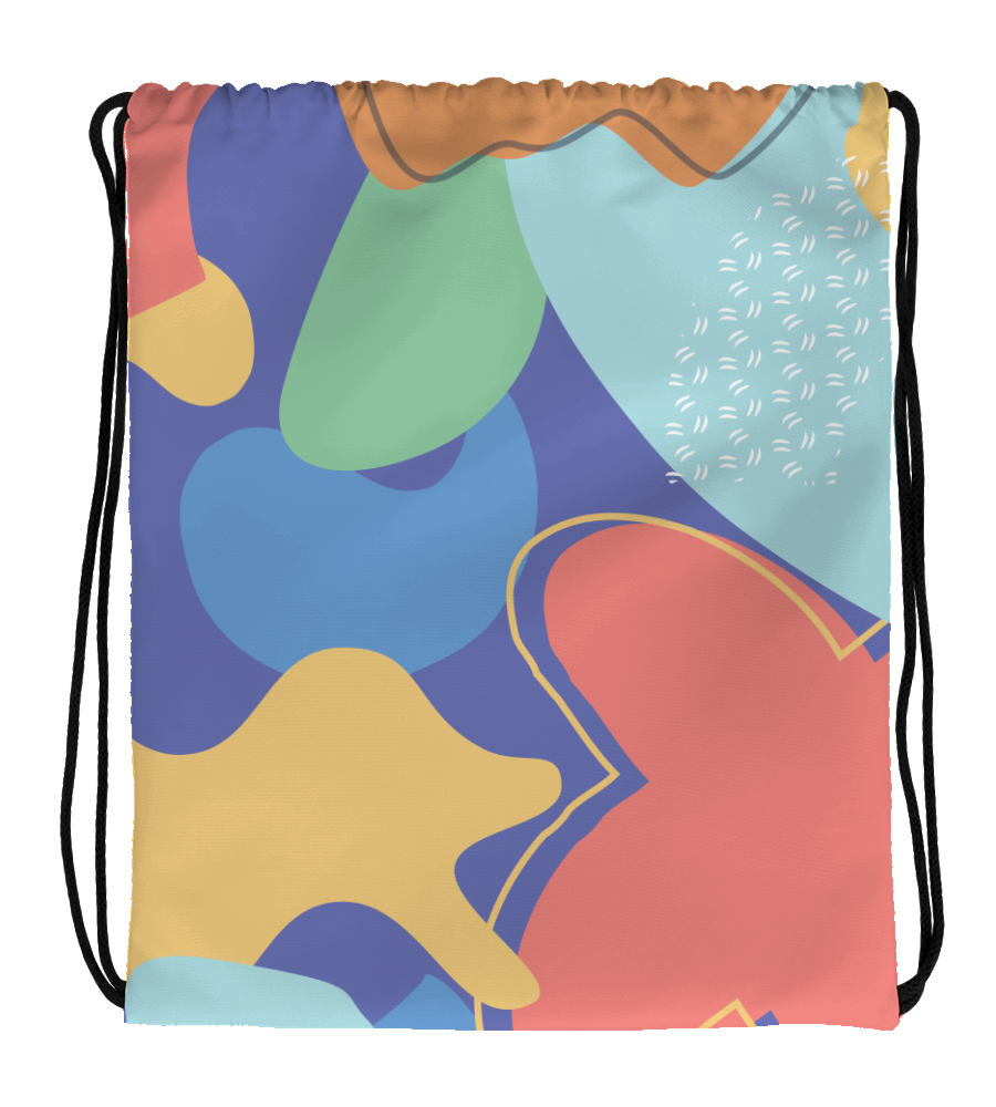 Drawstring Gym Bag Abstract pattern seamless colorful flat red blue sky purple yellow