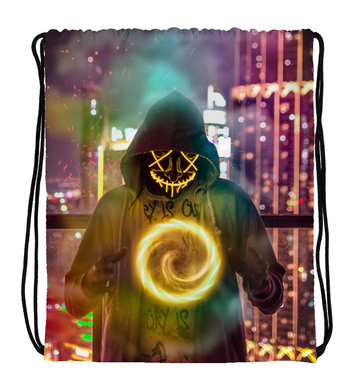 Drawstring Gym Bag Skull man wearing hoodie forming chakra