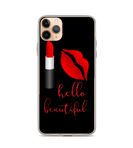 Hello Beautiful Lipstick Kiss Print Phone Case