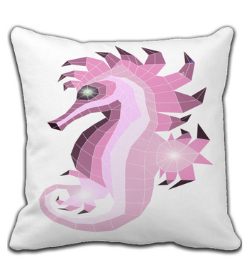 Throw Pillow Glass_seahorse