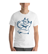 T-Shirt Happy cute Gray Cat and Red Fox dancing Tango - outline