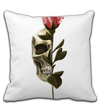 Throw Pillow skullrose