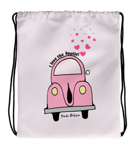Drawstring Gym Bag I love the beetle!  -  Art made by hand and digitally finished.