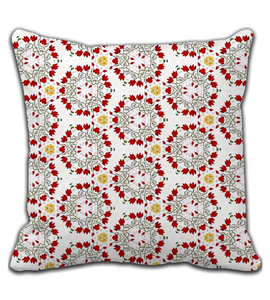 Throw Pillow Floral red green and yellow - sweet romantic vintage pattern -
