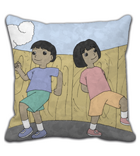 Throw Pillow cartoon play girl adventure cover illustration drawing draw color colored boy kid child