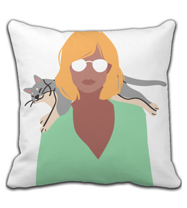 Throw Pillow Funny lazy cat on the shoulders, fashion woman in pastel colours. Girl decor. Power.