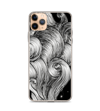 black waves lines motion stylized chill smoke sky stars Phone Case