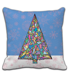 Throw Pillow Xmas tree hand drawn illustration. Christmas tree art in modern style.