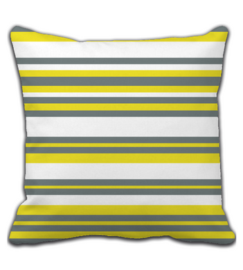 Throw Pillow Geometric Print Yellow and Gray Stripes