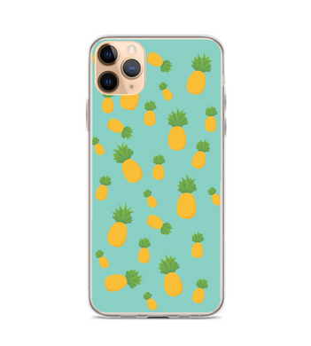 Blue and Yellow Pineapple Pattern Print Phone Case