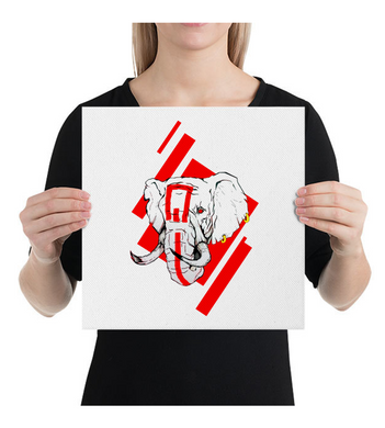Canvas Red elephant art