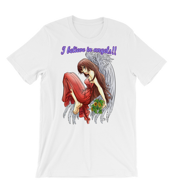 T-Shirt Angel mistic Digital Art Blue Moon Mangá Anime flowers Magic heavenly Love Romance