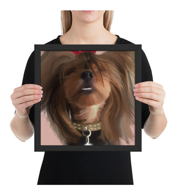 Framed Poster Funny dog smiling, yorkie puppy
