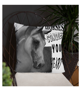 Throw Pillow Horse farm equestrian race drawing realistic pencil graphite arabian art animal wild