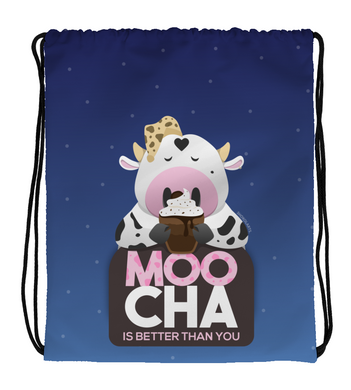 Drawstring Gym Bag Cute cow drinking a mocha with spotted background Moocha is better than you