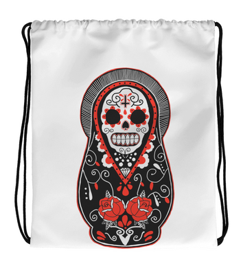 Drawstring Gym Bag Mexican Skull Doll