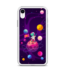 Astronaut with Flag on the moon Phone Case