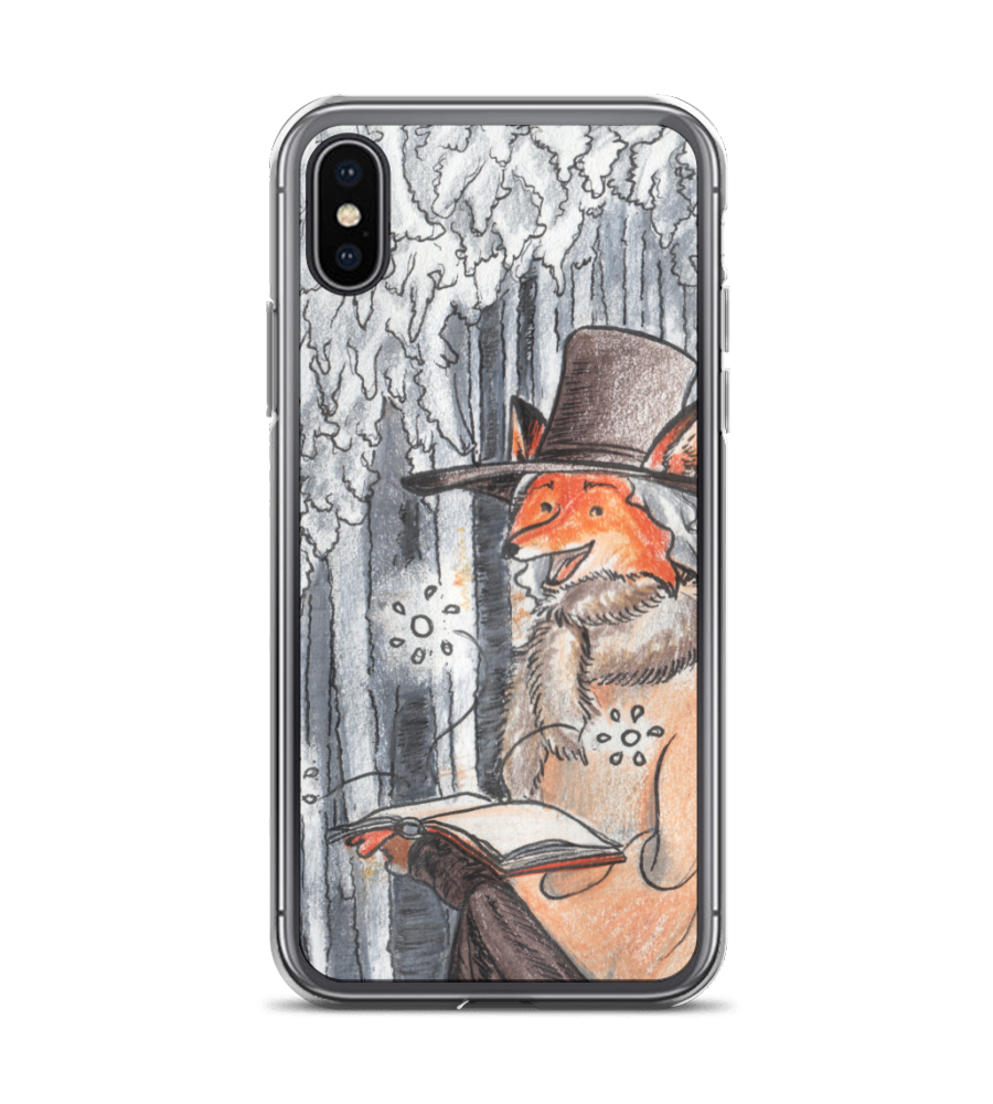 Red Fox reading fairy tales - medieval style - cute pencil ink art Phone Case
