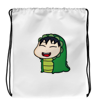 Drawstring Gym Bag Baby in monster costume.