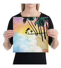 Canvas watercolor beach - colorful sundown horizon sea palm trees gift