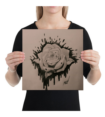 Canvas Black and grey rose