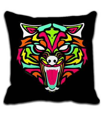 Throw Pillow Wolf with neon colors and abstract tribal forms