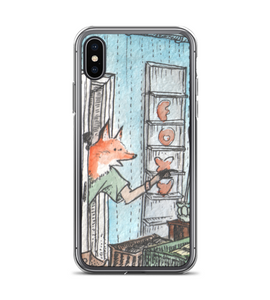 Teenager Red Fox in green T-Shirt - cute watercolor ink art - part of set Phone Case