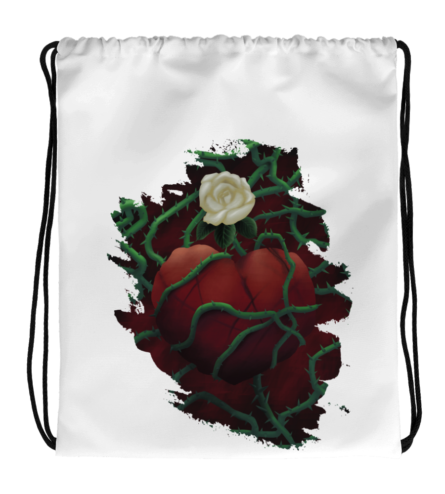 Drawstring Gym Bag Unrequited Love rose scars heart heartbroken romance romantic passion boyfriend