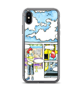 manga pg comic girl bus page cover illustration drawing draw color colored strip panel Phone Case