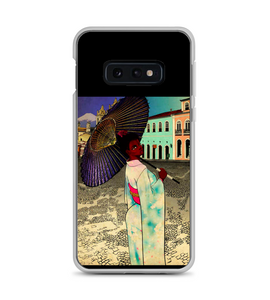 Geisha woman Brazil japanese girl kimono umbrella historic landscape japan beautiful Phone Case