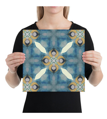 Canvas Soft blues Abstract cheerful geometric pattern art print