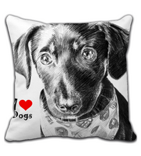 Throw Pillow I love dogs