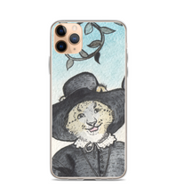 Lady Snow Leopard in hat - medieval style - original watercolor ink art - part of 3 set Phone Case