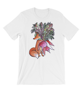 T-Shirt Cute sly Red Fox carries an armful of Root Vegetables and hides in their Greenery