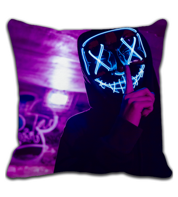 Throw Pillow Skull man with led mask (silence)