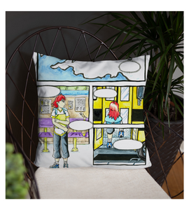 Throw Pillow manga pg comic girl bus page cover illustration drawing draw color colored strip panel