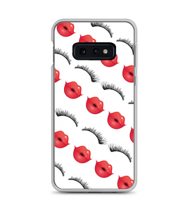 Red Lips Lashes Diagonal Print Phone Case