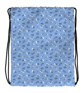Drawstring Gym Bag Drawstring Bag White Flowers Pattern Blue Background