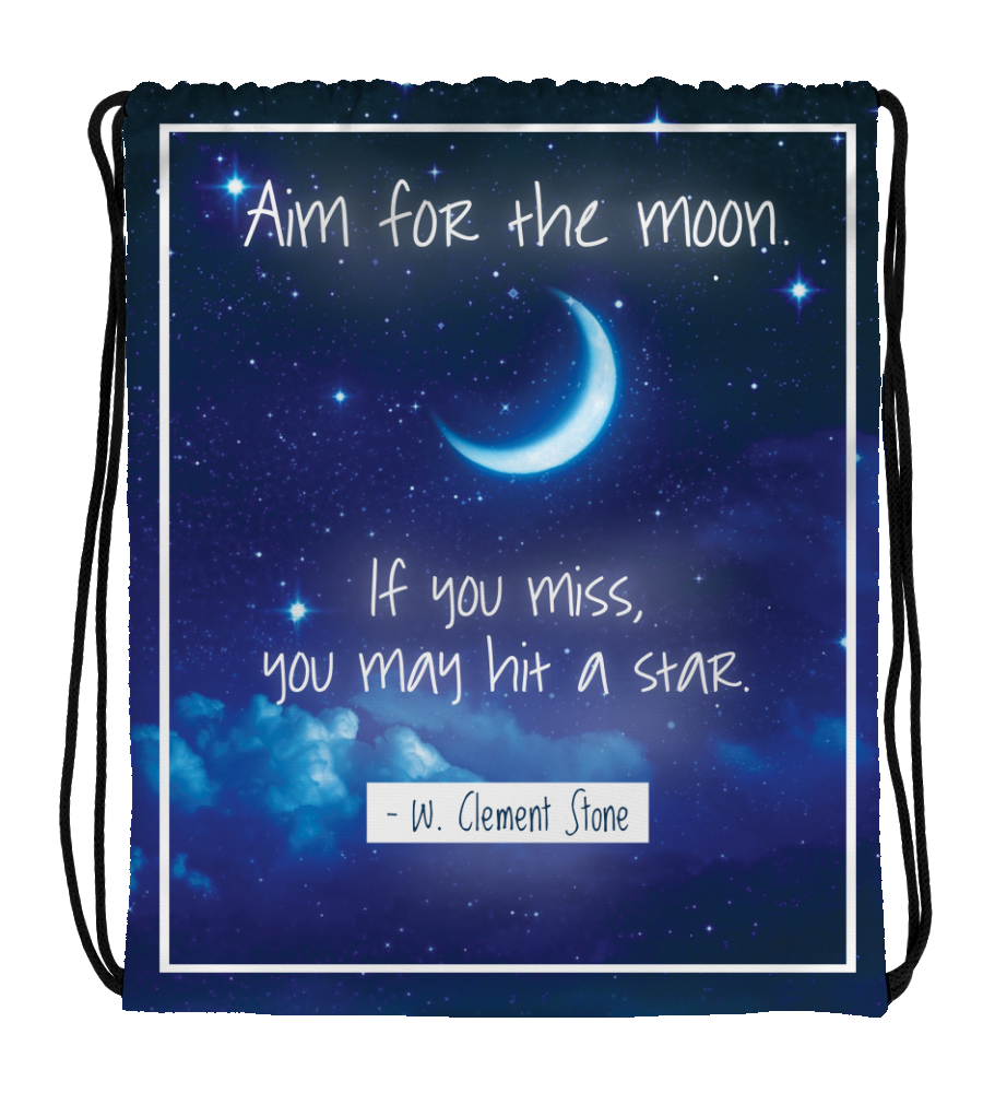 Drawstring Gym Bag Drawstring Bag Aim fot the moon