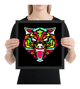 Framed Poster Wolf with neon colors and abstract tribal forms
