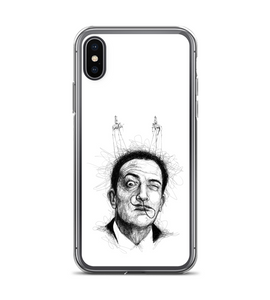 Salvador Dali. Scribble style. Black and white portrait. Phone Case