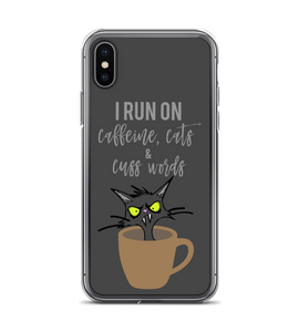 I Run On Caffeine Cats And Cuss Words Phone Case