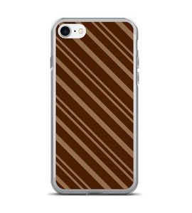 Brown Coffee Stripe Print Phone Case