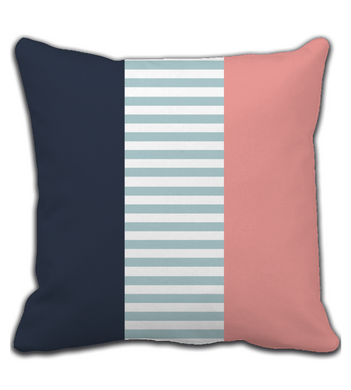 Throw Pillow Pink and Blue Striped Pattern