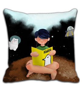 Throw Pillow Boy reading a book in space